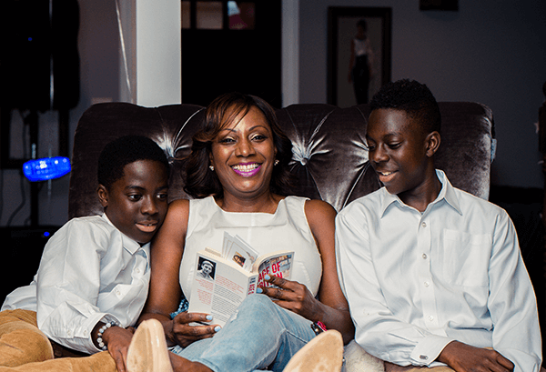 Racheal with her sons.